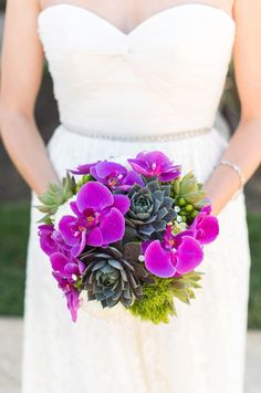 Succulent and orchid wedding bouquet   Caroline & Evan Photography