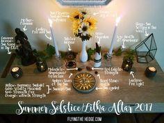 Simple idea for summer Solstice Autel Wiccan, Wiccan Sabbats, Pagan Altar, Witchcraft, Wiccan Decor, Pagan Calendar, Pagan Festivals, Meditation Altar, Altar Decorations