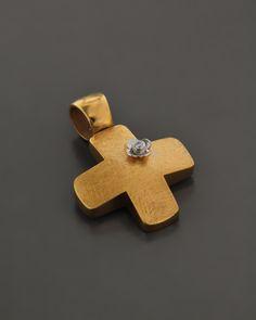 Σταυρός Χρυσός K14 με Ζιργκόν | eleftheriouonline.gr Cufflinks, Jewelry Design, Stud Earrings, Christening, Accessories, Jewellery, Ideas, Jewels, Stud Earring