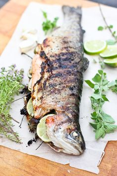 Grilled Whole Trout Enjoy these top-rated grilled fish recipes outdoors this summer. Recipes include gingered honey salmon, tilapia piccata and even grilled fish tacos. Fish Dishes, Seafood Dishes, Fish And Seafood, Seafood Recipes, Main Dishes, Grilling Recipes, Cooking Recipes, Healthy Recipes, Fish Recipes Trout
