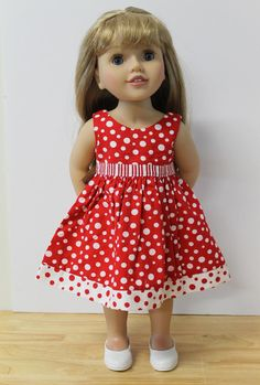 Red Party Dress  Doll Clothes to fit Australian Girl by Debsterkay