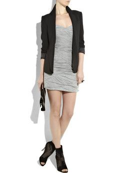 senior clothing inspiration, blazer, grey dress, heels, clutch