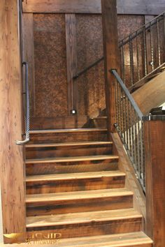Wrought Iron Porch Railings, Iron Stair Railing, Rustic Stairs, Rustic Home Design, Home Remodeling, Metal Working, House Design, Basements, Design Ideas