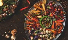 Photograph of Yotam Ottolenghi's roast winter vegetable platter with walnut and barberry salsa
