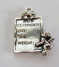 Vintage Sterling Silver New Baby `Birth Certificate' Cherub Angel Keepsake Charm/Pendant..
