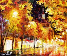 """Golden Night — PALETTE KNIFE Cityscape Modern Wall Art Textured Oil Painting On Canvas By Leonid Afremov - Size: 24"""" x 20"""" (60 cm x 50 cm)"""