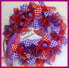 Red Hat Society Wreath Red Purple Deco Mesh Wreath Floral Red Hat Ladies, Red Hat Society, Hat Crafts, Fancy Nancy, Red Hats, Deco Mesh Wreaths, Red Purple, 4th Of July Wreath, Red Roses