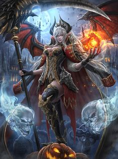 Fantasy Diamond Painting Kits that include Fairies and Dragons and all things fantasy. Fantasy Female Warrior, Fantasy Demon, Demon Art, Anime Fantasy, Dark Fantasy Art, Fantasy Artwork, Female Art, Fantasy Art Women, Fantasy Girl