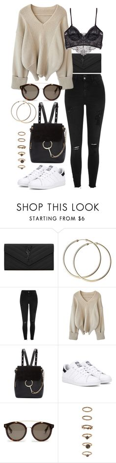 """Untitled #90"" by amanda-thoresson ❤ liked on Polyvore featuring Yves Saint Laurent, River Island, Chloé, adidas Originals, STELLA McCARTNEY, Forever 21 and Prada"