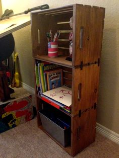 These would be so cute in a boys room! Perfect storage. DIY Wooden Crate Bookshelf | My Crafty Spot - When Life Gets Creative