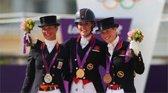 Gold medallist Charlotte Dujardin (C) of Great Britain riding Valegro, silver medallist Adelinde Cornelissen of Netherlands riding Parzival and Laura Bechtolsheimer of Great Britain riding Mistral Hojris celebrate with their medals for Individual Dressage Charlotte Dujardin, 2012 Summer Olympics, Olympic Committee, Team Gb, Olympic Athletes, Olympians, Olympic Games, Dressage, Great Photos