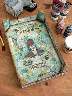 Trash to Treasure | Upcycled Mixed Media Tray Acrylic Paint Pens, Crackle Painting, White Acrylic Paint, Chalky Finish Paint, Mixed Media Tutorials, Trash To Treasure, Paint Drying, Inspiring Things, Paint Shop