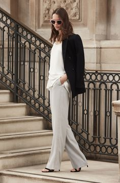REISS Mills Leather-Detail Blazer $520, Eve Layered Cami $180, Ray Wide-Leg Trousers $265 and Aris Metal-Detail Sandals $295