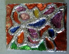 Baldwinsville Christian Academy - Elementary Art K-6 - tin foil over glued yarn lines and sharpie marker in the recesses for relief project