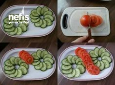 Salatalık Ve Domates Ile Tabak Süslemesi Fruit And Vegetable Carving, Veggie Tray, Creative Food Art, Cute Snacks, Food Carving, Good Food, Yummy Food, Food Garnishes, Food Platters