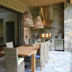 Artistic Pendant Light Shades with Beautiful Designs by You: Rough Stone Floor Rattan Chairs And Rectangular Wood Dining Table Traditional P. Small Outdoor Kitchen Design, Outdoor Decor, Decor, Small Outdoor Kitchens, Outdoor Lighting, Outdoor Dining, Outdoor Kitchen, Basket Lighting, Light Fixtures