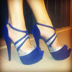 Gorgeous Blue Suede Ankle Strap Dress Sandals - Fashion Runway Clothing for Women and Men Ankle Strap High Heels, Sexy High Heels, Black Dress Sandals, Purple Heels, Blue Pumps, Blue Suede, Beautiful Shoes, Shoes Heels Boots, Me Too Shoes