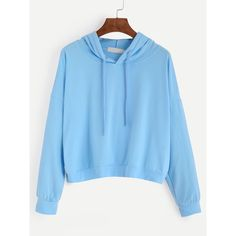 SheIn(sheinside) Blue Drop Shoulder Hooded Sweatshirt ($16) ❤ liked on Polyvore featuring tops, hoodies, sweatshirts, pullover sweatshirt, pullover hoodie, pullover hoodies, cotton pullover and hooded sweatshirt