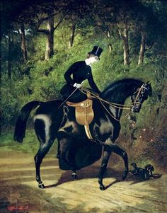 """In the Swan's Shadow: The Rider Kipler, on Her Black Mare,"" Alfred de Dreaux (1810-1860) was a French portrait and animal painter, best known for his scenes with horses."