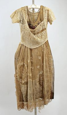 ~Evening ensemble Boué Soeurs  (French) Date: 1918–20 Culture: French Medium: cotton, silk, metallic~