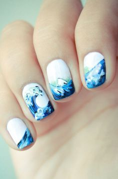 Beach Wave continous design nail art  Nice nail ideas #nails #nailart
