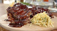 Barbecue baby back ribs with celeriac slaw - James Martin buy a rack of ribs from butchers
