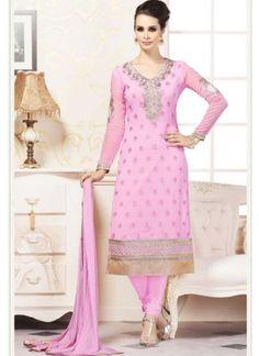 Classy Pink Georgette Embroidery Work Churidar Suit http://www.angelnx.com/Salwar-Kameez/Churidar-Suits
