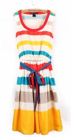 Women Rainbow V Neck A Line Floor Length Stripe Multi-Coloured Print Beach Bohemian Chiffon Sleeveless Skirt S/M/L@II0112
