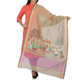 Grey Chanderi Cotton Hand Painted Dupatta