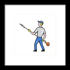 Gardener Hedge Trimmer Isolated Cartoon Framed Print by Aloysius Patrimonio.   Cartoon style illustration of male gardener holding hedge trimmer looking to the side viewed from rear set on isolated white background. #illustration #GardenerHedgeTrimmer
