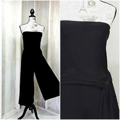 7aa48397da2 Black strapless bandeau jumpsuit   90s Palazzo pants romper   size S   M    ties at waist   body contouring