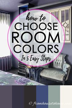 These steps for choosing a color scheme for your room are so simple that anyone can follow them and have their room turn out!. I love the dark purple and gold master bedroom color palette they use as an example. But the process would work for any interior design style. #fromhousetohome #colorscheme #paintcolor #decoratingtips