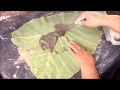 como fazer uma folha de taioba decorativa feita com cimento areia e toalha - YouTube