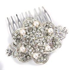 Idelia  Bridal Wedding Hair Comb Accessories by GlitzAndLove, $28.00