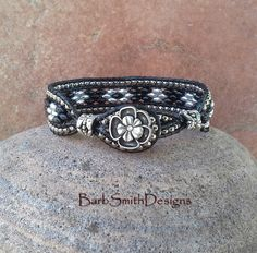 Black Silver Beaded Leather Bracelet Super Duo Beads  The