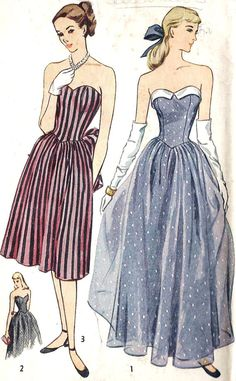 1940s Strapless Party Dress Prom Dress Evening by MissBettysAttic, $45.00
