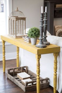 Yellow chalk paint.                                                                                                                                                                                 More