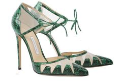"""Lana"" - Geometric Panel Green Elaphe @BiondaCastana Online Store Seen by @pretentshoes http://biondacastana.com/products/lana_emerald_green_elaphe_watersnakeskin_geometric_pointed_pump …"