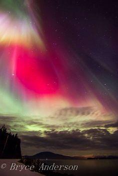 Red Northern Lights for Juneau, Alaska.