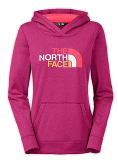 Women's Fave Pullover Hoodie in Dramatic Purple and Snowcone Red by The North Face. This Stretch-fleece technical pullover remains breathable when layered over training gear and features durable, soft