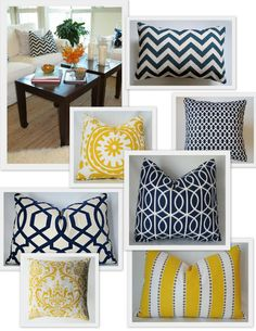 Navy and yellow pillows from Castle Creek Designs on Etsy