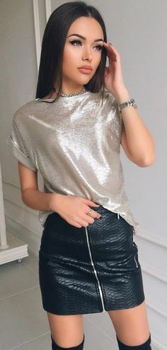 #fall #outfits Sequin Top // Zipped Leather Skirt // Black Over The Knee Boots