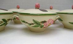 Franciscan Desert Rose (USA) Vintage Gladding McBean  -RARE Set of 6 Covered  Cream Soup Bowls With Lids Gold Foil Stickers