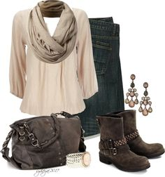 A fashion look from November 2012 featuring loose shirt, studded boots and purse bag. Browse and shop related looks. Style Wish, Style Me, Chic Outfits, Fashion Outfits, Womens Fashion, Classic Wardrobe, Country Outfits, Cute Fashion, Fashion Styles