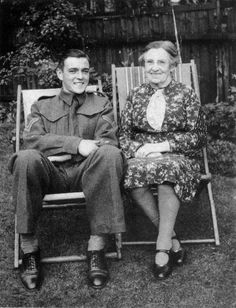 James Doohan with his grandmother, such a handsome young man ;)<<< (Scotty from Star Trek)