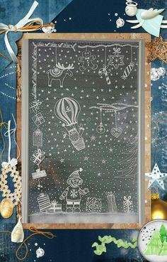 """Winterdekoration am Fenster mit Chalk Pen (Vorlage aus """"Bine Brändle, Vorlagenmappe Fensterdeko mit dem Kreidemarker"""")"""