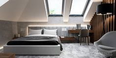 Find home projects from professionals for ideas & inspiration. Projekt domu HomeKONCEPT 53 by HomeKONCEPT Attic Bedroom Designs, Home Room Design, Bedroom Loft, Master Bedroom Design, Modern Bedroom, Bedroom Decor, Modern Villa Design, Loft Interiors, Loft Spaces