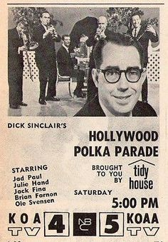 """Dick Sinclair - At the age of 90 (2015) Dick Sinclair has had one of the longest running polka radio shows in the history of polka music broadcasting, with over 65 years of promoting and playing polka music of all nationalities. The """"Polka Parade"""" show itself was similar in format and style to what was being presented nationally at the time by ABC with its  """"Polka Time"""" (1956-1957) and """"Polka-Go-Round"""" (1958-1959) programs broadcast  from Chicago."""