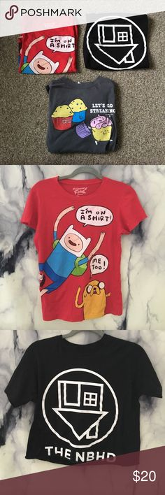 "Womens Basic graphic tee shirts 1️⃣ Adventure Time jake and Finn talking on the shirt joke tee shirt. 2️⃣ The Neighborhood black hand cut basic cropped tee shirt.  3️⃣ ""Lets go streaking"" funny joke dark grey tee shirt.   ☀️All are size small in Women's  ☀️Perfect with skinny jeans or shorts for that basic trend look. Maybe go camping in? Sleepwear? You name it! Soft and relaxing tee shirts!  ☀️8$ each or all together for 20$ Hot Topic Tops Tees - Short Sleeve"