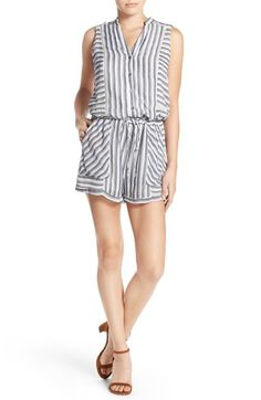 Greylin Button Front Stripe Romper available at #Nordstrom